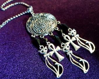 Triple Bastet Cat Necklace
