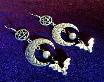 Bat Moon Pentagram Earrings