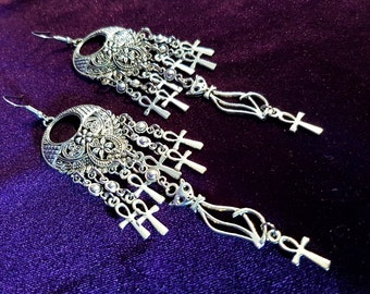 Bastet Cat Ankh Earrings