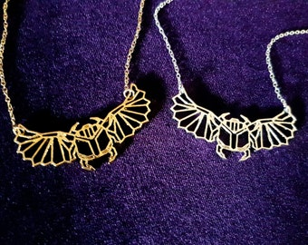Winged Scarab Pendant (Gold or Silver colour)