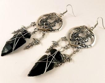Obsidian Maya Arrowhead Earrings