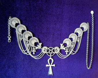 Vampire Hip Chain Ankh Belt (Big Size)