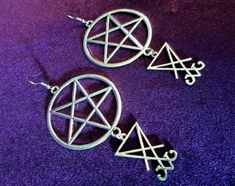 Pentagram Sigil of Lucifer Earrings