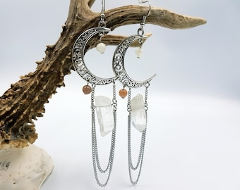 Crescent Moon Crystal Quartz Earrings