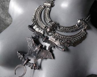 Triple Bat Crescent Moon Necklace (Partly Electroformed Copper)