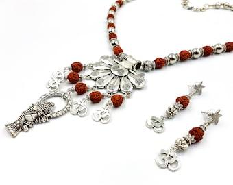 Universal Sound Aum Rudraksha Necklace & Earrings Set