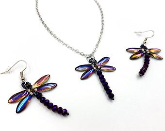 Purple Dragonfly Beaded Earrings & Necklace Set