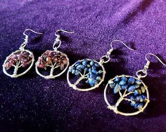 Gemstone Tree Earrings (Garnet or Lapis Lazuli)