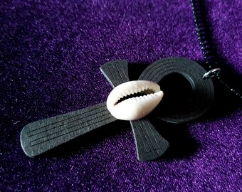 Black Wooden Ankh Pendant with Cowri Shell