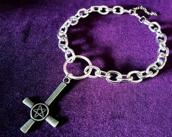 Inverted Cross Pentagram Chain Choker