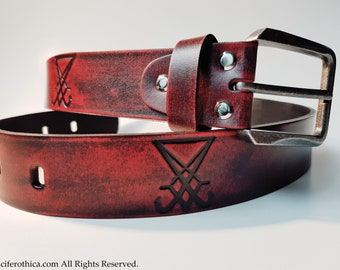 Sigil of Lucifer Belt (Satanic Red)