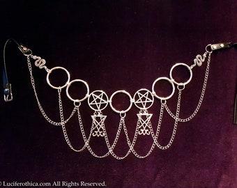 Sigil of Lucifer Pentacle Hip Chain Belt
