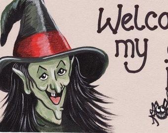 Welcome To My Cauldron Kitchen - Hanging Sign Kitchen Witch Gothic Goth Cauldron Wicca