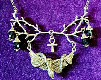 Serpent of Knowledge necklace -  forbidden fruit serpent snake occult lefthandpath baphomet gothic goth cosmic witch ankh
