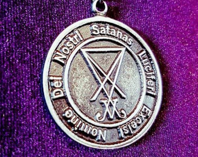 Nomine Dei Nostri Satanas Luciferi Excelsi Amulet - occult luciferian satanic pendant necklace satan