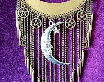 Rain of Spikes Crescent Moon Necklace - goth gothic pentagram symbol spikes wicca pentacle witch