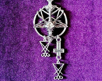 Baphomet Statement Necklace - occult sigil of baphomet sigil of lucifer satanic necklace goth gothic left hand path