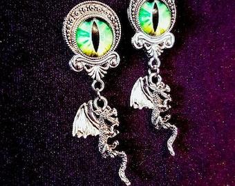 Dragon Eyes Earstuds & Plugs - goth gothic dragon fantasy jewellery