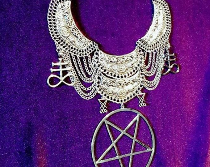 Leviathan Satanic Neckpiece - Satanic Cross Brimstone occult gothic jewellery left hand path sign leviathan cross pentagram sigil of lucifer