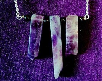 Triple Amethyst Necklace - Gemstone chunks occult spiritualamethyst gemstone gothic