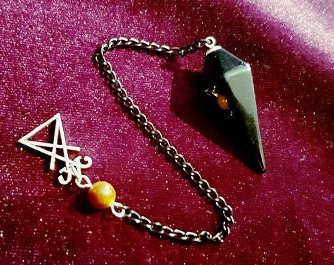 Luciferian Pendulum - occult sigil of lucifer black agate scrying divination tiger eye goth gothic witch