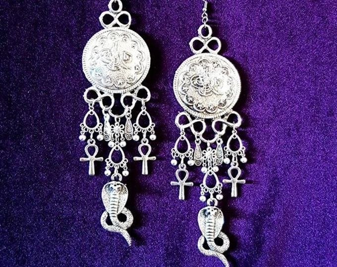 Leviathan Serpent Earrings - occult gothic long victorian trad goth cobra snake infinity jewellery