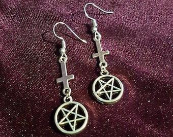 Inverted Cross Pentagram Earrings