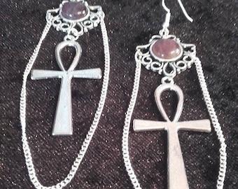 Ankh Amethyst Earrings