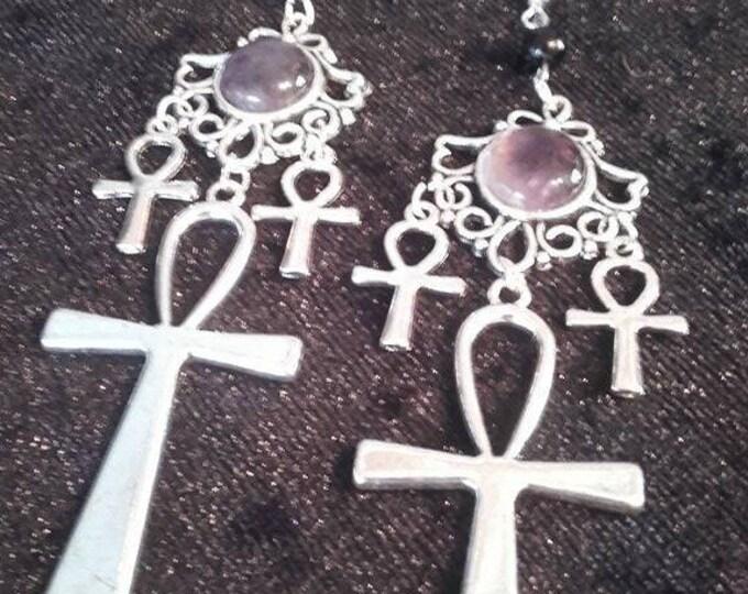 Ankh Earrings - amethyst gemstone, egyptian, vampire gothic occult