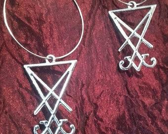 Sigil of Lucifer Hoop Earrings
