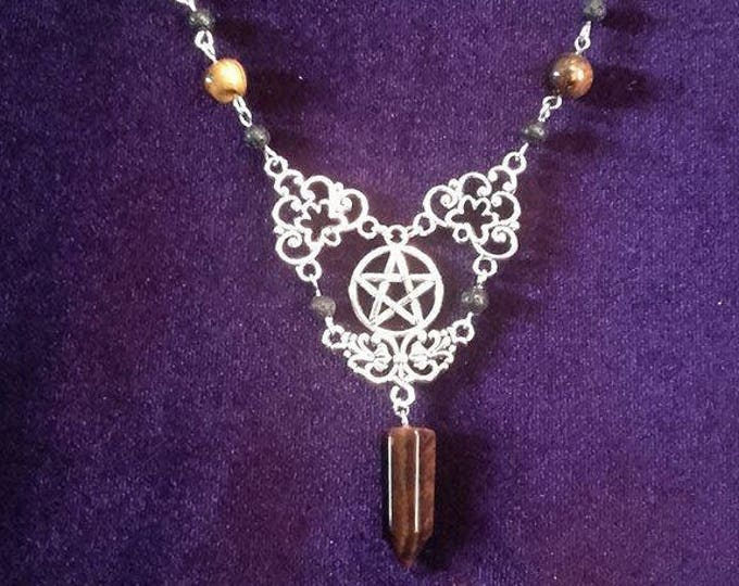 Pentagram Necklace - tigereye gemstone gothic occult wicca pagan