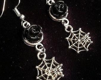 Spiderweb Black Rose Earrings