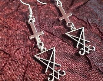 Luciferian Inverted Cross Earrings (2 Styles)