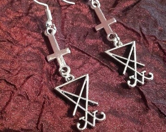 Luciferian earrings  -  Lucifer left hand path  inverted cross  cross st.Peter satan satanisme baphomet gothic witch