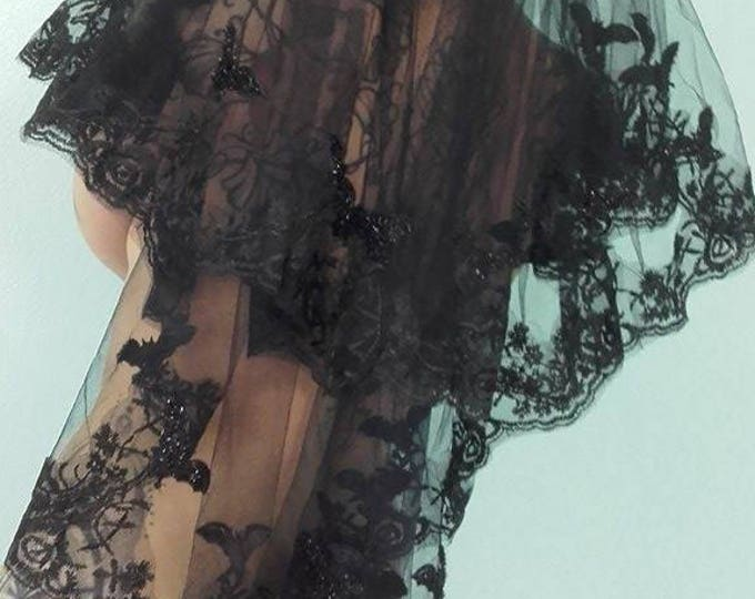 Black Bat Veils - lace gothic occult bats funeral wedding victorian