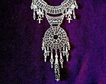 Spiritual Priestess Neckpiece - occult dzi bead ankh gothic necklace