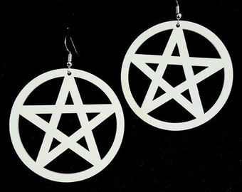 White Pentagram Earrings - goth gothic white witch wicca wiccan pagan witchcraft