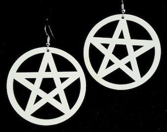 White Pentagram Earrings