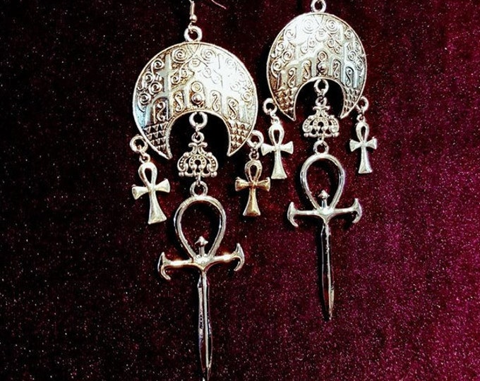 Vampire Ankh Cathedral Earrings - occult goth gothic dracula crescent moon vampyre