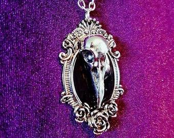 Black Mirror Crow Skull Necklace