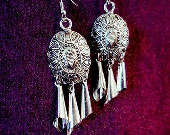 Dangling Hollow Cone Shield Earrings