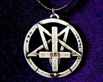 Inverted 666 Pentagram Cross Pendant (Steel)