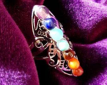 Chakra Gemstone Ring - Spiritual chakra jewellery gemstones 7 base chakras