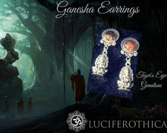 Ganesha gemstone Earrings | Plugs