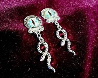 Eye of the Serpent Earstuds / plugs - snake earrings eye of wisdom lucifer occult kundalini
