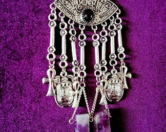 Balance Amethyst Necklace - Spiritual scarab ankh neckpiece gemstone chunky amethyst blocks gothic