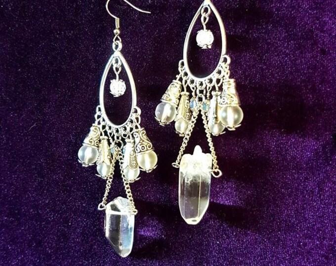 Quartz Crystal Frequency Earrings - spiritual crystal healing jewellery crackled quartz chuncks