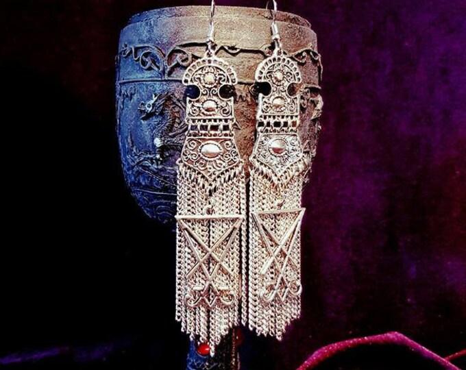 Sigil of Lucifer Long Chain Earrings - occult goth gothic luciferian sigil ear jewellery lucifer