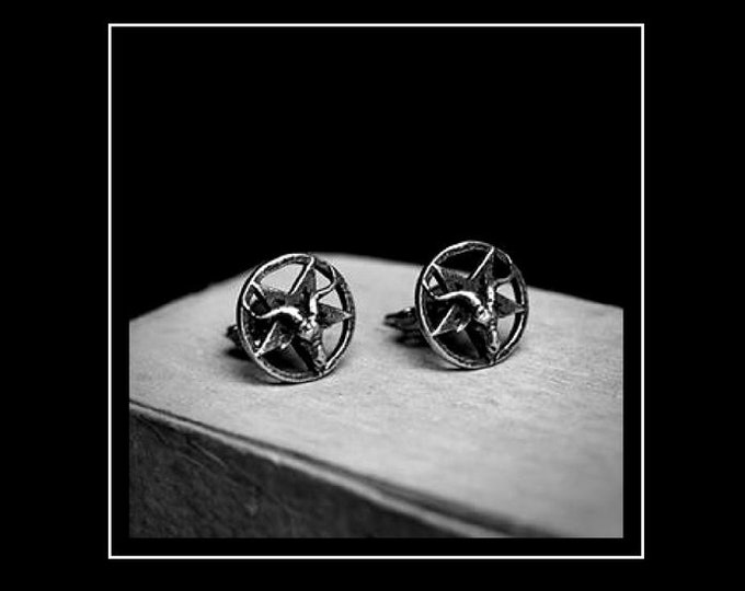 Sterling Silver 925 Sigil of Baphomet Earstuds - occult left hand path earstuds studs silver 925 gothic earstuds goat of mendes