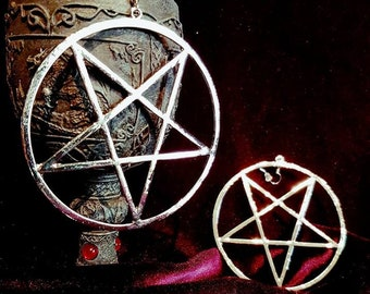 Huge Inverted Pentagram Earrings (Silver or Black)